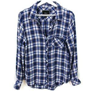 Tops - Hunter Plaid Flannel Button Down Shirt Blue/White